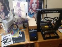 Wanhao i3 V2 3D printer with tools and materials