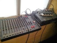 12 channel mixing desk and power amp.