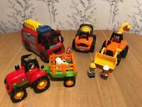 Happyland Fire Engine, Tractor & Construction Vehicle Bundle