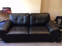 Genuine Leather Sofa - Black - Detachable Back