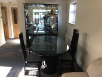 Dining display cabinet & table 6 chairs ( black Lacquer finish) )