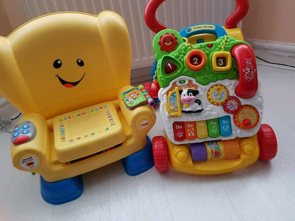 ac0519510f4 Vtech walker and fisher price laugh and learn chair