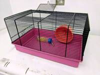 Pink Ferplast Hamster Cage With Wheel And Bottle
