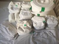 Tots Pots reusable nappies 30 white with bags and bin