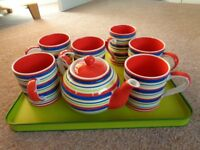 Whittard, striped teapot and matching mugs