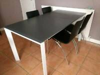 Glass Extendable Dining Table and four chairs