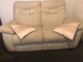 Cream Fabric Two Seater Sofa
