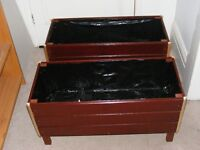 2 very large planters in stained mahogany, EXCELLENT VALUE PLEASE READ.
