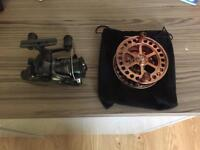 Shimano DL2500FB baitrunner and Ikonix Copper Centrepin Reels
