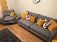 Barker & Stonehouse Grey 3 Piece Suite - Myers Range - 6 Months old - Current range in store now