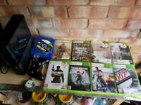 Xbox 360 slim and 10 games