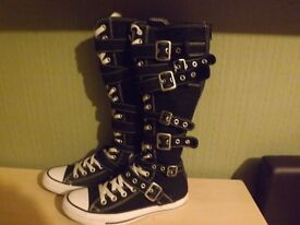 Pr of Long Black/White Converse Boots Size 6
