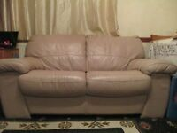 Leather beige 3 seater Bed Settee and 2 seater settee