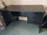 Computer desk with 3 draws and a cupboard