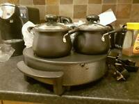 hot plate and pots