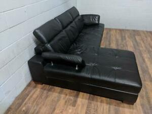 (Used, excellent cond.) - Mobilia black leather sectional sofa. Free Delivery.