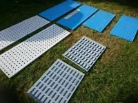 Industrial steel Peg board panels, workshop / van racking