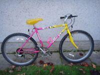 Giant Stone breaker retro mountain bike, yellow/pink, 26 inch wheels , 18.5 inch frame 18 gears