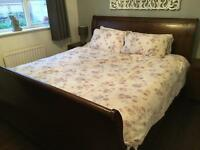 Super king size Walnut wood sleigh bed for sale