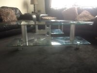 """60"""" solid glass tv stand for sale. Needs collected and 2 people to lift as its heavy"""