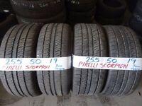 MATCHING set 255 50 19 pirelli scorpions 7MM TREAD £180 set of 4 SUPP & FITD (loads more av}