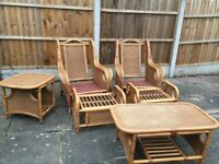 SEVEN PIECE CONSERVATORY FURNITURE SET WICKER & CANE , SOFA TABLES AND CHAIRS