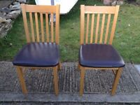 Pair of Solid Oak Dining Room Chairs