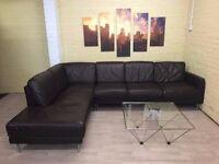 Stunning Long Brown Leather Corner Sofa