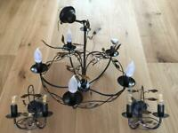 John Lewis Bronze & Gold 1 x Ceiling and 2 x Wall Light Set (Mint Condition)