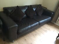 Chocolate brown leather sofas