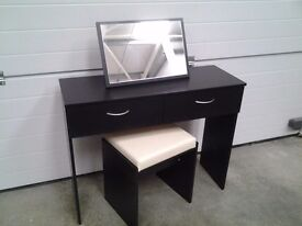 New dressing table, mirror and stool. Black. Bargain, can deliver.