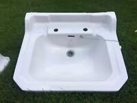 Shires Adelphi 2 Taphole White Waverley Bathroom Sink w/ Shires pedestal