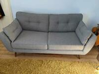 DFS French Connection Grey 3 Seater Sofa & Cuddle-seat