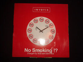 New No smoking Clock Perspex/plastic material 42cm wide