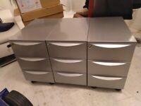 Three grey metal filing drawers pedestals on wheels central London bargain
