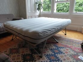 Double air bed with collapsible frame