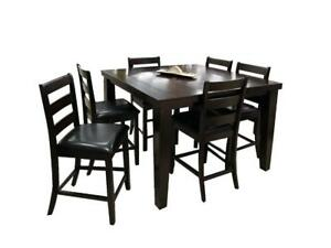 7 PC Pub Height Wooden Dining Set (BD-1746)