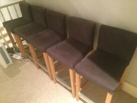 **FREE - COLLECT ONLY** dark blue wooden & fabric kitchen stools