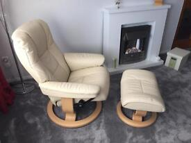 Stress less recliner chair and foot stool