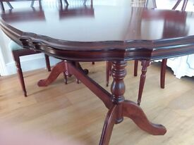 Mahogany extending diningroom table and 6 chairs