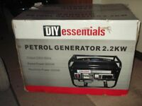 diy essentials petrol generator,model no,2500dc,new never been out of box.