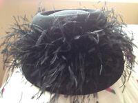 Stunning BHS Black Feather Trim Ladies Hat