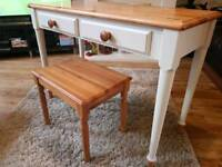 Solid Pine Desk / Dressing Table and Stool