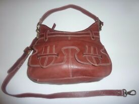 Ladies Shoulder Bag, New, Tan high quality leather, detachable shoulder and cross body straps