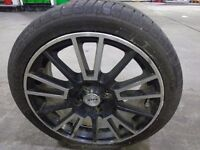 16 inch set of 4 black and chrome 4 stud alloys with excellent 195/45/16 tyres+DELIVERY AVAILABLE