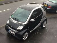 Smart car 2007 city passion, black silver, petrol, smart for two, mot July 17