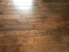 Engineered Oak Wood Flooring - Distressed Antique Coffee Coloured