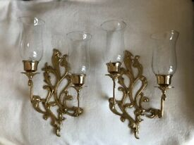 2 x Solid Brass Ornamental Wall Candle Holders
