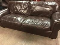 Dark brown leather 3 and 2 sofas