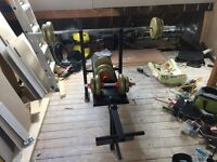 York Fitness weight bench & weights